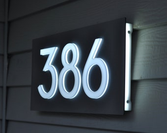 "Custom Aluminum & Acrylic LED House Numbers Sign. 5"" Tall Numbers! Lights Up Automatically! Low Voltage and Low Power! Low Profile!"