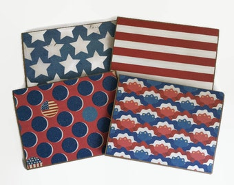 Patriotic Notecard Set, Card Set for Him, Set of 4, Red White and Blue, Independence Day, 4th of July, Gift for Soldiers, Gift for Military.