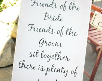 Handmade Wooden/Vinyl Seating Sign for Wedding Guests