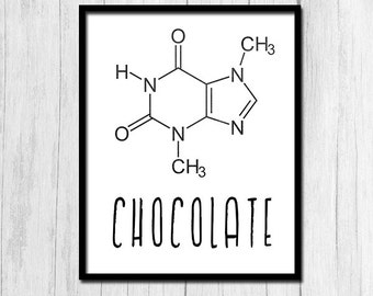 Chocolate Molecule Structure Theobromine Chemistry Teacher Gift Organic Chemistry Digital Download Chemistry Poster Chocolate Print