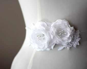White twin roses wedding belt, bridal belt, sash belt,bridesmaid belt,sash