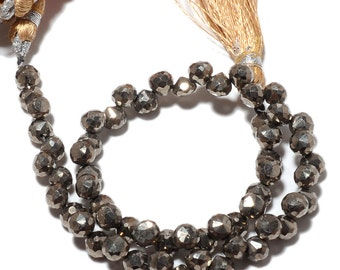 Pyrite Beads, Natural Pyrite Onion Beads, Faceted Briolette Beads, 6mm Beads, 10 Inch Strand, SKU-M69