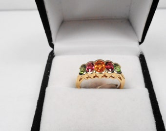 Natural Multi Gem 14kt Gold Ring.