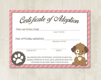 Puppy Party Adoption Certificates // Instant Download // Adopt A Puppy // Puppy Adoption Center // Puppy Birthday // Puppy Party