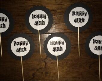 12 Happy 40th Birthday Cupcake Picks