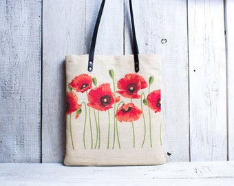 Poppy flower tote bag. Linen tote bag. Canvas tote. Beach tote.