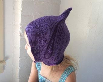 Pixie Hat - Cashmere - Upcycled Sweater - Upcycled Cashmere - Purple Paisley Pixie Hat - Child Pixie Hat - Size 2-3 years