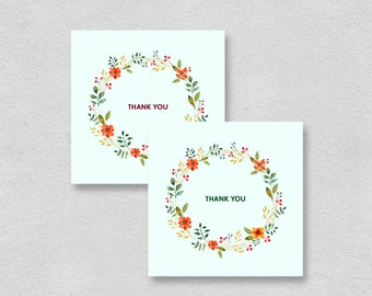 Printable mini thank you cards | mint floral small thank you card | party birthday bridal shower wedding thank you notes | pretty chic retro