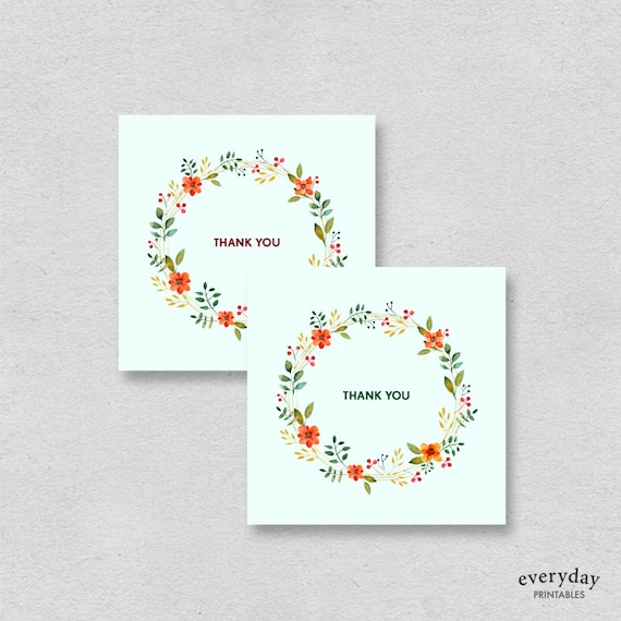 printable mini thank you cards mint floral small thank you