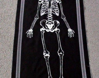 Black and white fabric. Skull fabric. Halloween quilt fabric. Glow in the dark fabric panel. Boys quilt panel. Skeleton fabric panel. Bones.