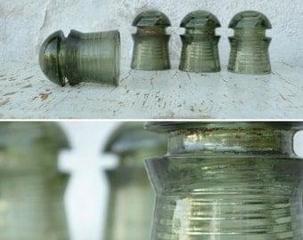 25% OFF Vintage Glass Insulator Set, Sage Green Glass Insulator, Laurel Green Insulator, Artichoke Green Glass, Heavy Glass Mushroom, CD 408