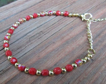 Red & Gold Anklet