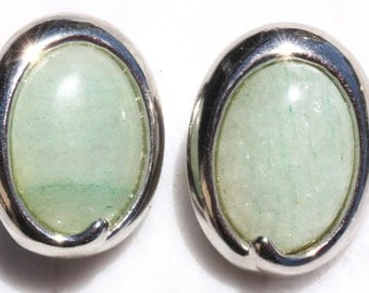 Mottled Sky Blue Stone Clip on Earrings