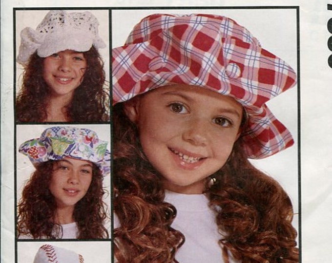 FREE US SHIP McCall's 7530 Girls Button Brim Floppy Retro Hat 1995 Out of Print Uncut factory folded Sewing Pattern Accessories Fashion Chic