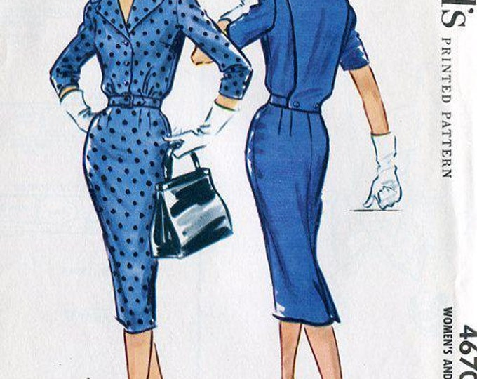 FREE US SHIP Original Uncut Vintage Retro 1950's 50's McCall's 4670 1958 Plastron Dress Bust 34 Sewing Pattern Rockabilly