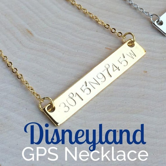 Gps Coordinates Necklace: Items Similar To Disneyland GPS Coordinates Necklace, GPS