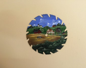 Hand painted saw blade with farm scene