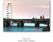 London vista photo print, London eye photography, London decor, Large wall art, City panorama, England art canvas, Thames sunset, UK decor