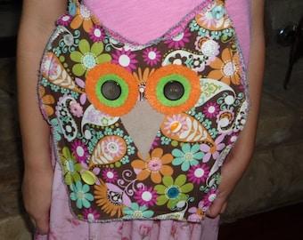 SALE Was 20.00 Cute Owl Purse/Handbag in Floral Paisley Print for Girls, Tweens, Teens or Anyone