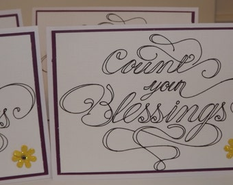 "Any Occasion ""Count Your Blessings"" Set of 4 Handmade Cards"
