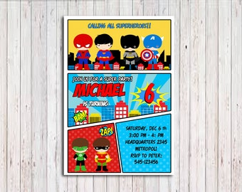 Superhero Invitation, Superhero Comic Birthday Invitation, Superhero Birthday Party Invitation