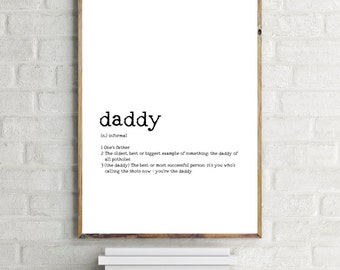 Daddy Print, Fathers Day, Dad Art, Modern Printable Art, Instant Download, Father Quote, Typewriter, Dad Definition, Holiday Art