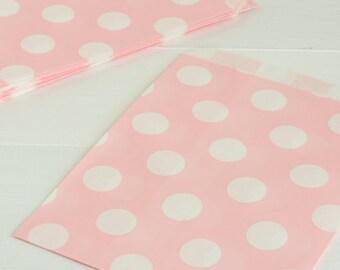 10 Light Pink Polka Dot Treat Bags- Use for Party Favors, Cookie Bags, Birthday Popcorn Bags, Wedding Favors, and Baby Girl Shower Favors