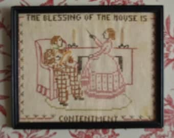 Cross Stitch Sampler, Vintage Framed Cross Stitch sampler