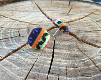 Halloween fabric button earrings