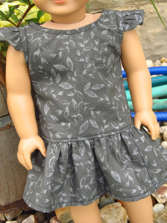 Gray Ruffled Dress - American Girl Doll Clothes