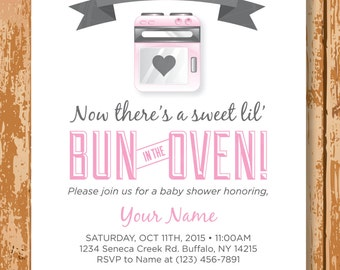 Bun In The Oven Baby Shower Invitation, Baby Shower Invitation, Printable, Customized