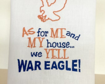 Auburn War Eagle Linen Hand Towel, Hemstitching detail.  Great gift Idea!!