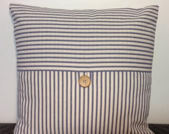Decorative Pillow Cover Throw Pillow Blue Striped with button detail