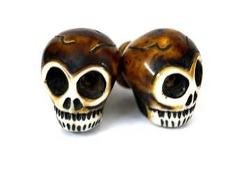 Set of 6 Knobs/Skull Knob/ Resin Drawer Knobs/Handcrafted knobs