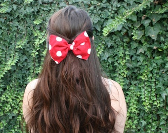 Large Minnie Mouse Inspired Bow in Red or Pink