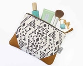 Leather clutch,Ethnic zipper pouch,Original Designs,Clutch Purse,Ethnic leather pouch,Make up bag,Ethnic bag,Modern zipper pouch