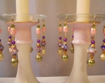 Purple Haze, Upcycled Bobeches with Vintage Necklaces, Candle Wax Catchers