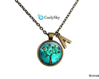 Teal Necklace Green Pendant Teal Brown Necklace Greenish Pendant Teal Brown Necklace Greenish Blue Necklace Teal Tree Necklace Teal Pendant