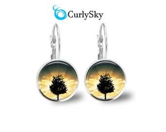 Nightfall Earrings Eventide Dangles Nightfall Art Earrings Nightfall Sunset Earrings Eventide Jewelry Nightfall Tree Earrings Sunset Dangles
