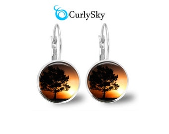 Tree Silhouette Earrings Black and orange earrings Tree Silhouette Dangles Orange tree earrings Black and orange glass earrings jewelry