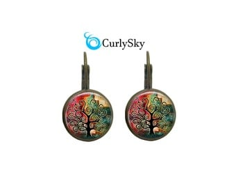 Tattered Earrings Black Tree earrings Tattered Color Earrings Tattered Painting Earrings Tattered Dangles Tattered Tree Earrings Jewelry