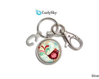 Red Bird Keychain Fat Red Bird Keychain Red Bird Keyring Glass Keychain Red Bird Accessory Fat Bird Keychain Glass Accessory Bird Keychain