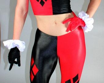 Harley Quinn style Leggings in Wet Look Spandex/Lycra by Suzi Fox