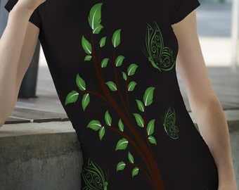 Butterfly t-shirts, custom t-shirts, ladies shirts, tree and butterflies, graphic t-shirts.