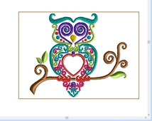5x7 SWIRLY OWL embroidery design, satin and weave fill.  Machine embroidery. Owl would be great for initial and name as shown in picutres!