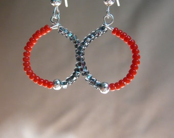 Unique Mini Beaded Hoop Earrings, Modern and Stylish (Black, Red, and Silver)