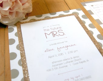 Gold Glitter Chic Bridal Shower Invitation
