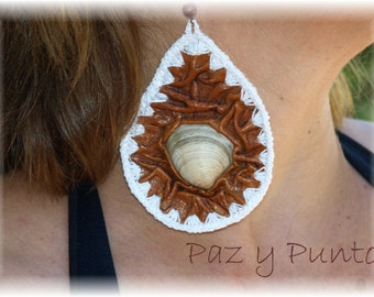 Leather and crochet earrings