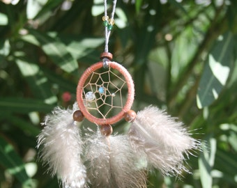 Southwestern style Dreamcatcher Necklace in peach brown & grey with natural Guinea Feathers