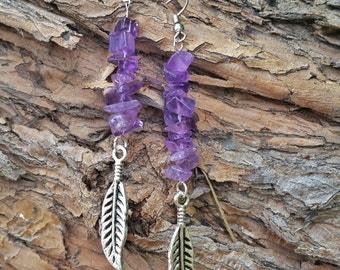 Amethyst feather earrings  | Amethyst earrings | Feather earrings | Gemstone jewelry